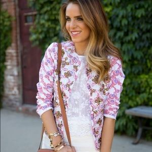 Asos Jacket In Floral Print And Embellishment